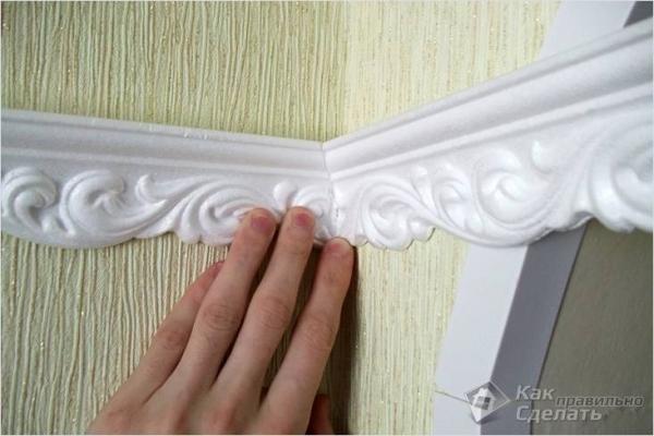Как клеить багеты на потолок — клеим на шпаклевку