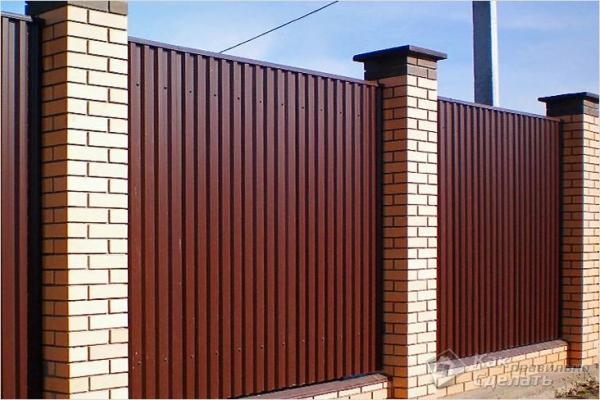 Как сделать забор из металлопрофиля — ограждение из металлического профиля