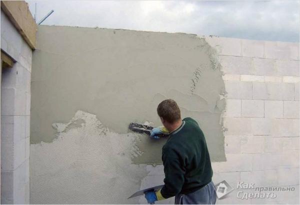 Как штукатурить стены из пеноблока — штукатурка стен из пенобетона