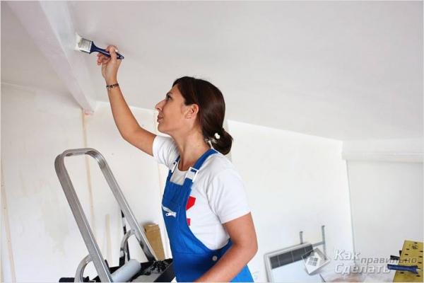 Как красить потолок водоэмульсионной краской — покрасить потолок